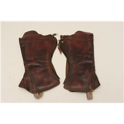 Pair of old leather gaiters.    Est.:   $50-$100.