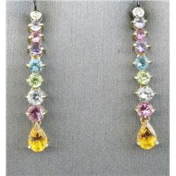 Colorful ladies multi colored stone and  diamond drop earrings in 10 karat yellow gold  custom made