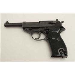 "Walther Model P-1 DA semi-automatic pistol,  9mm caliber, 5"" barrel, mat black finish,  checkered bl"