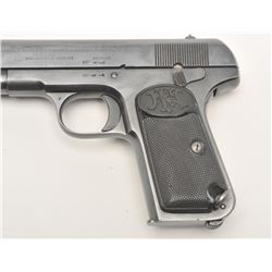 "Belgian FN Model 1903 semi-automatic pistol,  9mm caliber, 5"" barrel, military blued  finish, checke"