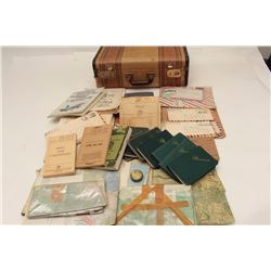 Old valise full of effects and military  ephemera belonging to Master Sergeant Charles  M. Thomson,