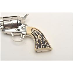 "Great Western Arms Co. SAA revolver, .22  caliber, 5.5"" barrel, nickel finish, faux  stag grips, S/N"