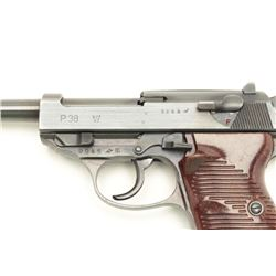 "German P-38 byf 43 marked semi-automatic  pistol, 9mm caliber, 4.75"" barrel, military  finish maroon"