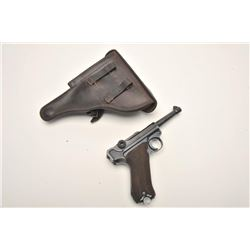 """Luger semi-automatic pistol, S/42 marked,  1939 dated, 9mm caliber, 4"""" barrel, blued  finish, checke"""