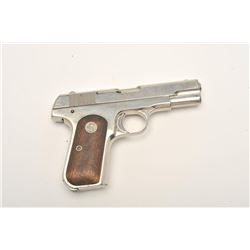 "Colt Model 1908 semi-automatic pocket pistol,  .380 caliber, 3.75"" barrel, nickel finish,  checkered"