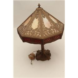 """Beautiful Miller stained glass and metal  table lamp; appears to be ca. 1920's;  approximately 27"""" t"""