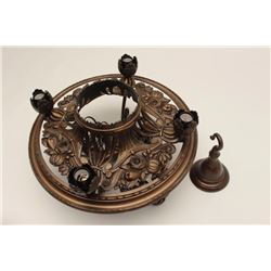 """Fancy bronze ceiling lamp in the French Art  Nuevo style, approximately 18"""" in diameter;  with ceili"""