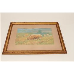 Framed and matted water color of sheep  grazing, ca. 1900's, by H. Irvine Marlatt,  approximately 22