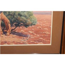 "Framed and matted water color by Tom Phillips  entitled ""Children of the Land"" showing  Southwestern"