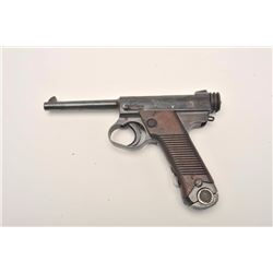 """Japanese Nambu semi-automatic pistol with  clamshell holster and strap, 8mm, 4.5""""  barrel, wood grip"""