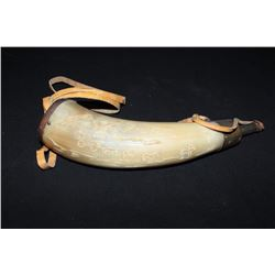 """Lot of 2 old powder horns, one approximately  9.5"""" overall with brass mountings; the other  approxim"""