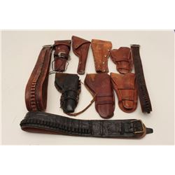 Bonanza lot of leather including 2 misc.  holsters, 2 misc. cartridge belts and 4 misc.  holster and