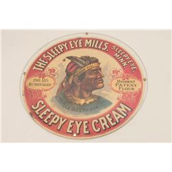 """Colorful """"Old Sleepy Eye"""" two-sided color  advertiser, with protective frame showing an  Indian trad"""