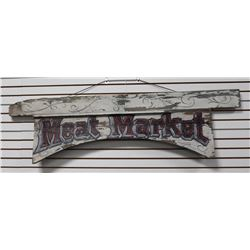 "Large painted wooden sign approximately 21""  in height and 75"" in length; aged white paint  backgrou"