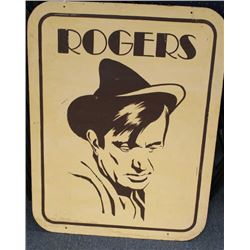 "Large painted image of Will Rogers on  masonite board, approximately 48"" x 38""  overall.      Est.:"