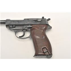 "P-38 semi-automatic pistol, ""cyq"" marked, 9mm  caliber, 5"" barrel, military finish, maroon  grips, S"