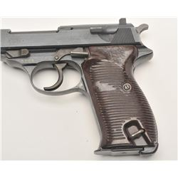 "P-38 semi-automatic pistol, marked ""ac 45"" on  slide, 9mm caliber, 5"" barrel, military  blued finish"