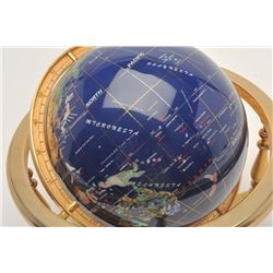 Blue lapis globe of the world with  multi-colored stone/pearl insets for the  different Countries, i