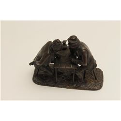 """Bronze of men playing cards at a table. Circa  19th to 20th century. Old price tag """"Lois  Harding In"""