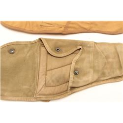 """Two G.I.-issue canvas """"jump"""" cases for M1  Paratrooper carbines; one Sems 1943 and U.S.  marked in t"""