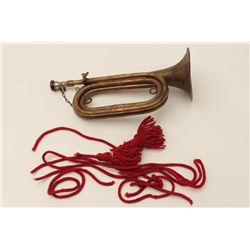 WW II era Japanese military bugle with  partial cord and mouthpiece in very good  condition along wi
