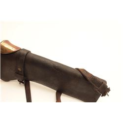 Early Civil or Indian Wars leather carbine  scabbard with brass throat; overall good  condition.