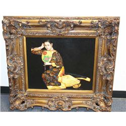 "Large painting of Asian Lady in ornate carved  frame, signed ""L. Pliego""; approximately 35""  x 38"" o"