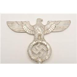 "Aluminum flag top nazi spread eagle,  approximately 10"" in height including  integral base and in ov"