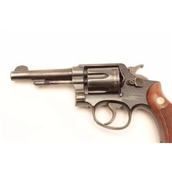 Smith and Wesson Hand Ejector revolver, .38  Special caliber, Serial #90496044.  The  pistol is in v