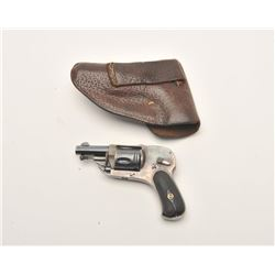 "European folding trigger hammerless revolver,  6.35mm caliber, 1.75"" barrel, blued and case  hardene"