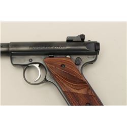 "Ruger MK II Target semi-automatic pistol,  .22LR caliber, 5.5"" barrel, blued finish,  checkered thum"