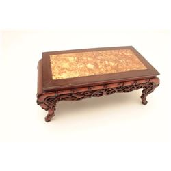 "Small ""tea ceremony"" size carved wood and  marble table. Measures 8"" in height by 19"".  Some crackin"