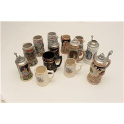 Lot of 14 misc. beer steins; a lifetime  collection!      Est.:  $100-$200.