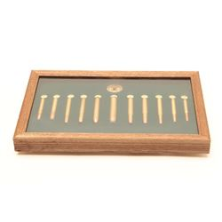 "Framed NRA cartridge board with 11 different  cartridges; approximately 10"" x 16"" overall.   A great"