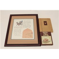 Framed and matted color copy of a 1907 letter  and envelope by C.M. Russell to Percy Rabon  of Great