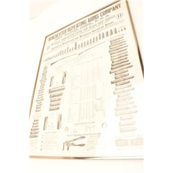 Large framed black and white reproduction of   a Winchester Repeating Arms Co. rifle,  ammunition an