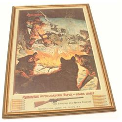 "Framed color reproduction of an old   Remington Auto loading rifle advertiser;  approximately 31"" x"