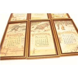 Lot of 6 framed reproductions of early  Winchester Repeating Arms Co. color calendar  advertisers; e