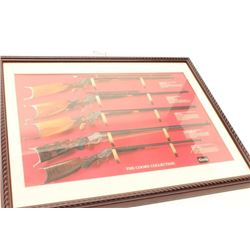 Framed and matted color print of Stevens and  Maynard target rifles from the Coors  Collection; appr