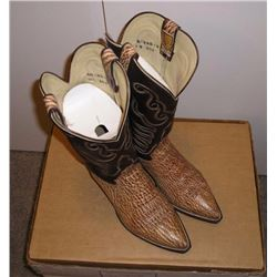 Pair of Mens Cowboy Boots. Brown skin  patterned lower with dark brown stitched  pattern upper. Hond