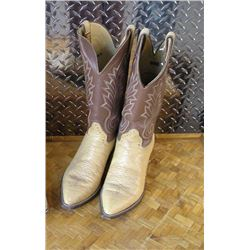 Pair of Mens Cowboy boots. Light tan elephant  skin lower with a medium brown stitched  upper. Hondo