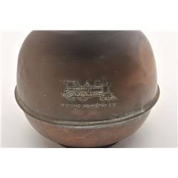 Old brass spittoon, marked Union Pacific RR  with engine on side of piece; weighted bottom  of spitt