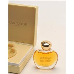 """Jean Patou/Paris """"Amour Amour"""" perfume (full  glass bottle in factory cardboard box, ca.  1940's,"""