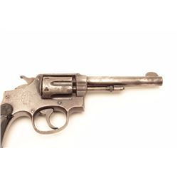 "Smith & Wesson M&P DA revolver, .38 S&W  Special caliber, 5"" barrel, blued finish,  checkered hard r"