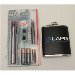LAPG flask and mini-mag flashlight set; both  like new.       Est.:  $25-$50.