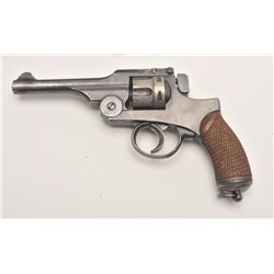 "Japanese Type 26 DA military revolver, 9mm  caliber, 4.75"" barrel, blued finish,  checkered wood gri"