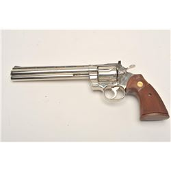 "Desirable Colt Python DA revolver, .357  Magnum caliber, 8"" ventilated rib barrel,  factory nickel f"