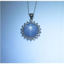 Very important ladies necklace featuring an  excellent six ray Natural(NO Treatment) Star  Sapphire