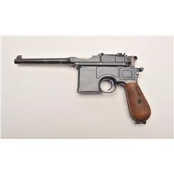 "Mauser Broomhandle semi-automatic pistol,  7.65mm caliber, 5.5"" barrel, blued finish,  wood grips, l"