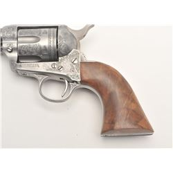 "Custom engraved Colt SAA revolver, .45 Colt  caliber, 4.75"" barrel, custom wood grips, S/N  324461,"